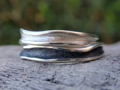 wedding bands sterling silver wavy channel shaped stacking rings or wedding band set of 2 rings for men and women oxidized silver jewelry - wedding bands , handmade sterling silver wavy channel shaped stacking rings or wedding bands – se - Handmade Sterling Silver, Sterling Silver Jewelry, Oxidized Silver, Silver Stacking Rings, Silver Rings, Stacked Rings, Wedding Band Sets, Handmade Wedding, Metal Jewelry