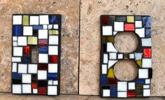 Hand Crafted Mosaic Light Switch Covers Set Inspired By Mondrian by Mid Century Mosaics | CustomMade.com