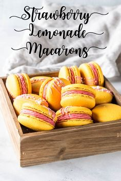 Strawberry Lemonade Macarons filled with strawberry lemonade buttercream and strawberry lemonade curd! Tips on how to make macarons. French Macaroon Recipes, French Macaroons, Macaron Template, Macaroon Cookies, Macaroon Filling, French Macaron Filling, Shortbread Cookies, Macaron Flavors, Freeze Dried Strawberries