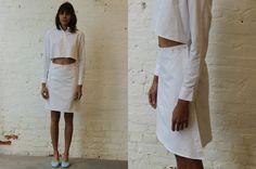 ECKHAUS LATTA SHIRT DRESS, WHITE