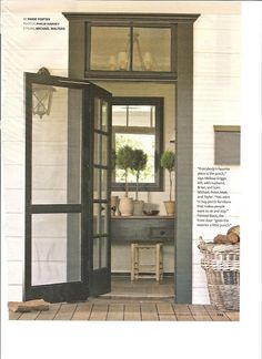For the side porch - transom windows, screened door, french door, paint color. Transom Windows, Windows And Doors, Style At Home, Exterior Design, Interior And Exterior, Exterior Trim, Interior Door, Exterior Paint, Bungalow