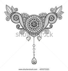 Ethnic floral zentangle, doodle background pattern in vector. Henna paisley mehndi doodles design tribal design element. Black and white…