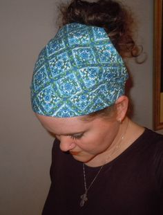 Blue Flowered Bandana / Wide Headband / by abdesigns2005 on Etsy, $10.00