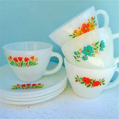 Vintage Fire King Floral Assorted Tea Cups