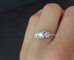 Diamond Trilogy Engagement Ring 18 Carat White Gold by ArahJames