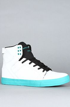 The Skytop Sneaker in White Tumbled Action Leather & Teal by SUPRA at karmaloop.com Awesome!
