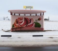 Alexandra Soldatova photographs Belarus bus stops. (LP)