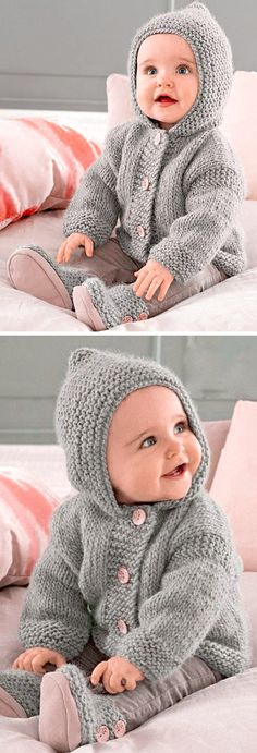 Hooded Coat - Free Pattern Free Knitting Pattern History of Knitting Wool rotating, weaving and stitching jobs such as BC. Boys Knitting Patterns Free, Baby Cardigan Knitting Pattern Free, Baby Sweater Patterns, Knit Baby Sweaters, Knitting For Kids, Baby Patterns, Free Knitting, Crocheting Patterns, Finger Knitting