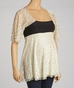 Love this Beige & Black Maternity Empire-Waist Top by Fiory Naz on #zulily! #zulilyfinds