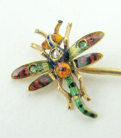 Vintage 14k Gold Stickpin Enamel Diamond Chip Dragonfly NR
