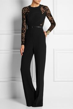 Elie Saab Lace panelled stretch crepe jumpsuit http://www.net-a-porter.com/au/en/product/574310/Elie_Saab/lace-paneled-stretch-crepe-jumpsuit