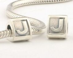 CLLE02-J 925 Sterling Silver Triangle Alphabet letter J Pandora Charms beads Pandora Letters