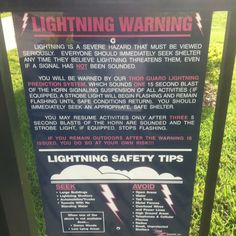 Warning sign about lightening detection and alarm system. Palmetto Bay Park Miami FL.