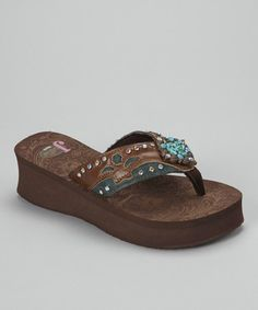 5954d4f7965944 Take a look at this Brown Sierra Platform Flip-Flop - Women by Justin Boots