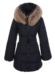 285e8a125b30 Cheap Womens Moncler Fur Collar Long Coats Black Moncler Jacket Women,  Jackets Uk, Winter