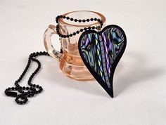 Multi-Colo Polymer Clay Pendant Heart made by Knightworkstudio