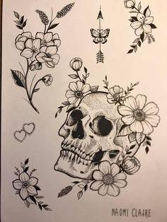 Dark Art Drawings, Tattoo Design Drawings, Tattoo Sketches, Tattoo Designs, Future Tattoos, Love Tattoos, Beautiful Tattoos, Skull Tattoos, Body Art Tattoos