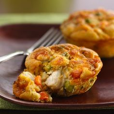 Impossibly Easy Mini Chicken Pot Pies with Bisquick that can be frozen for future use.