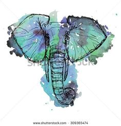 Wild animal safari. Black and white cute elephant face drawn pen and ink on a watercolor background for brochure, t-shirt, logo, invitation, card, icon, postcard, template Vector illustration eps10