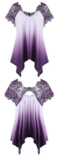Plus Size Lace Trim Ombre Asymmetric T-Shirt #fashiondesigners,