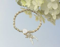 Heart Angel Wings Bracelet with Faceted Sterling Silver Beads, Freshwater Heart Pearl, Czech Crystal, Delicate Angel Wings