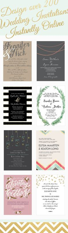 Over 200 wedding invitations that can be instantly designed online in over 160 different colors.