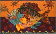 Freckled Puffer art quilt by Susan Carlson