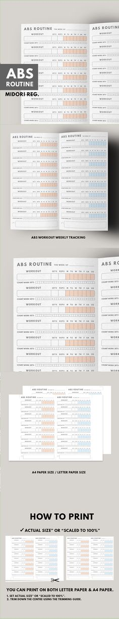 ABS ROUTINE TRACKER ▹ for Midori Traveller's notebook Regular size  Printable   Belly is the most part of body that we want to get rid of and workout is the best way to take it off! This is Abs Workout tracker for woman/man who want to have a sexy abs by workout routine. There're so many workout routine that you can find on the internet. Put it on this planner and let them track your daily routine workout Trust the process! you can lose your weight. Act now!