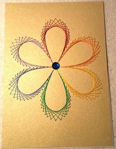 Fadengrafik-Doppelkarte Regenbogen Blume Gay 03 von Rene´s Fadengrafiken auf DaWanda.com