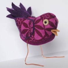 Berry Coloured Fabric Bird  by Clootielugs at Folksy.com