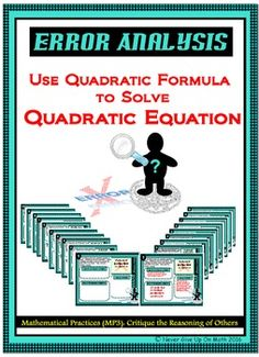 """This product contains """"14 ERROR ANALYSIS cards"""" discussing common mistakes which occur while Solving QUADRATIC EQUATION using the QUADRATIC FORMULA."""