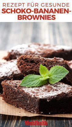 Recipe: Healthy Chocolate Banana Brownies - Recipes - Men& He .- Rezept: Gesunde Schoko-Bananen-Brownies – Rezepte – Men's Health These healthy brownies will melt in your mouth! They are low carb, no sugar, vegan and still so delicious! Healthy Dessert Recipes, Health Desserts, Keto Snacks, Low Carb Recipes, Vegetarian Recipes, Cooking Recipes, Brownie Low Carb, Healthy Brownies, Protein Brownies
