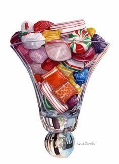 GALLERY - Art by Sarah Sartain. Old fashioned hard Christmas candy. Dessert Illustration, Illustration Art, Clipart, Realistic Paintings, Watercolor Paintings, Food Drawing, Candy Drawing, Candy Art, Food Painting