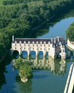 Château de Chenonceau ~ Loire Valley ~ France ~ It is by the river Cher and surrounded by forests and gardens. King Henry II gave it to his favorite - Diane de Poitiers, but when he died in a tournament, his widow the queen Catherine de Medici forced Diane to give it back to her. It's been remodeled numerous times over the years by several different women of position. The gardens are as pretty as the castle itself!