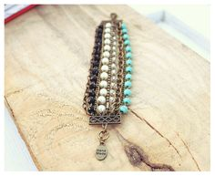 Beaded Bracelet, White Pearls, Turquoise Beads, Clear & Black Crystals, Bronze Chains - Boho Chic Bracelet, Bohemian - Handmade For Her