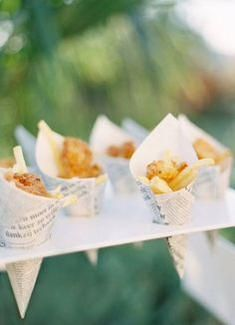Mini fish and chips is always a winner! Theme the newspaper wrappings for your event