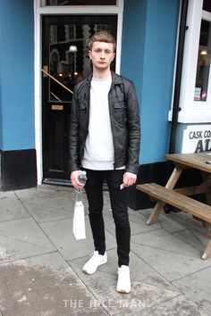 Magnificent Monochrome | Keep it simple with this clean fit. Pair a grey or white sweatshirt with a leather flight or biker jacket. Add some black skinny jeans and finish with some crisp white trainers. | Shop men's clothing at The Idle Man
