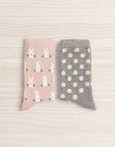 Pack of rabbit and polka dot socks - Socks - Accessories - United Kingdom