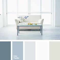 That middle grey/blue. These calm pastel colours are suitable for repair in Scandinavian style. Use this palette to decorate living room, bedroom and dining area. Living Room Designs, Living Room Decor, Living Rooms, Pastel Palette, Pastel Colours, Sleek Palette, Neutral Palette, Paint Color Schemes, Kitchen Colors