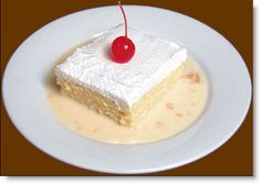 """Tres leches"", ( in English Three Milks) is a traditional Nicaraguan dessert. It's origin is unknown, although it is very popular in all of Latin America. Nicaraguans typically enjoy it for birthdays and special occasions. It is a very moist cake, because it moistened with three kinds of milk (hence the name Three Milks)....."