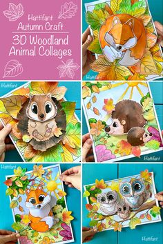 So much fun coloring and crafting these pieces of art. Everyones' is looking different, too! Color in and then turn your fox template into a 3D shape. Then pöace it on one of the pretty background coloring pages and add more leaves! Woodland Animals, Fall Paper Crafts, Collage, Pretty Backgrounds, Teddy Bear, Autumn, Animal Crafts, Adult Coloring Pages, Art Lessons