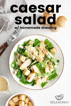 Caesar salad recipe with dressing made from scratch - anchovies, dijon, worcestershire, mayonnaise, garlic, lemon juice. So flexible that you can add proteins like grilled chicken, salmon, boiled eggs, shrimp, crabmeat or pasta. Easy Caesar Salad Dressing, Salad Dressing Recipes, Main Dish Salads, Dinner Salads, Summer Salad Recipes, Summer Salads, Lchf, Keto, Seafood Salad