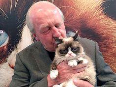 Grumpy Cat with Jim Davis, the creator of Garfield
