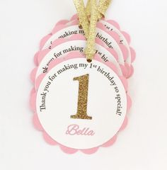 Pink and Gold Thank You Tags