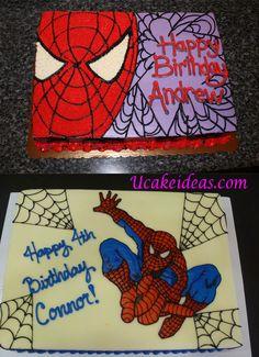 Spiderman Sheet Cake Ideas : U Cake Ideas Toddler Birthday Cakes, Birthday Cakes For Men, Boy Birthday, Birthday Ideas, Cupcake Frosting Recipes, Cupcake Cookies, Cupcakes, Cake Logo, Superhero Cake
