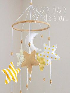 Colorful and Playful DIY Baby Mobiles Ideas # diy baby mobile Colorful and Playful DIY Baby Mobiles Ideas Baby Crafts, Felt Crafts, Diy And Crafts, Diy Mobile, Star Mobile, Felt Mobile, Baby Decor, Nursery Decor, Nursery Room