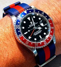 ' Pepsi ' Rolex GMT on Custom Striped strap
