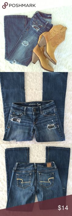 American Eagle Jeans ArtistRipped Size 2R Women Smoke Free Home!  Measurements:  Waist - 28in Rise - 7in Inseam - 29.5in Length - 36.5in  Leg Opening -9in  Same OR Next Day Shipping.  BIN-Z American Eagle Outfitters Jeans