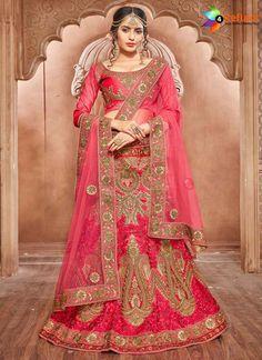 e225e6ef0d ENTICING RED PURE SILK WEDDING LEHENGA CHOLI Red Silk, Pink Silk, Pakistani  Lehenga,