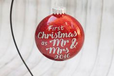 Mr and Mrs Ornament - Our First Christmas Ornament - Newlywed Ornament - Gift for Newlyweds - Wedding Ornament - Personalized Ornament